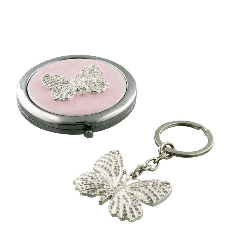 Butterfly Compact Mirror and Keyring Gift Set - Luxury Ladies Stocking Filler and Table Gift Idea